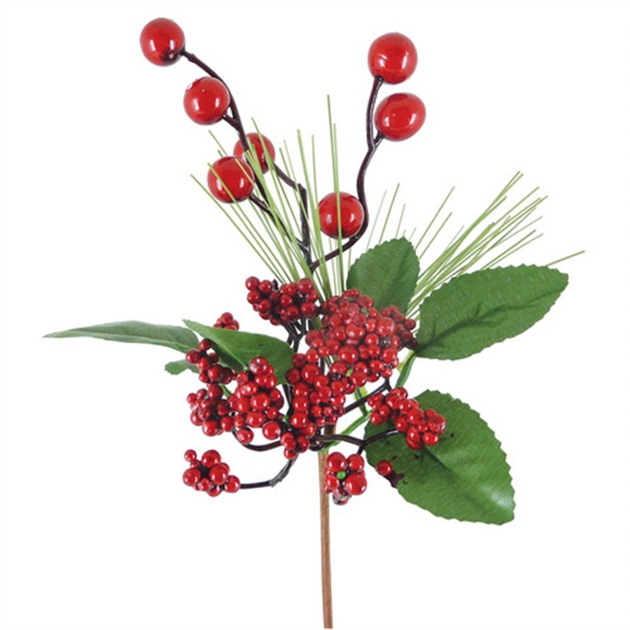 Galho c/ folhas e mini berries 25cm