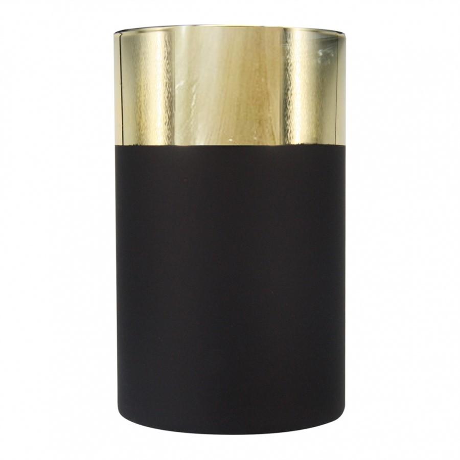 Vaso de Vidro Dourado e Preto 12x20cm