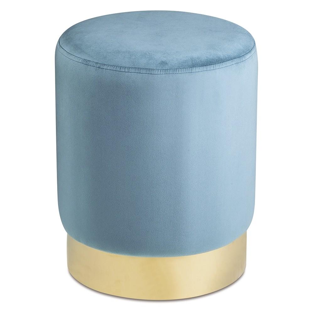 Puff Veludo Azul 42cm