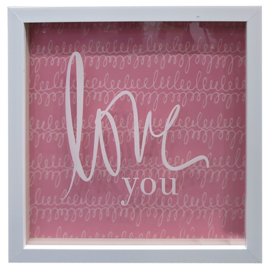 Quadro Love you rosa 20cm x 20cm