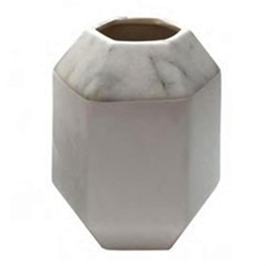 Vaso Hexagonal Marble Branco