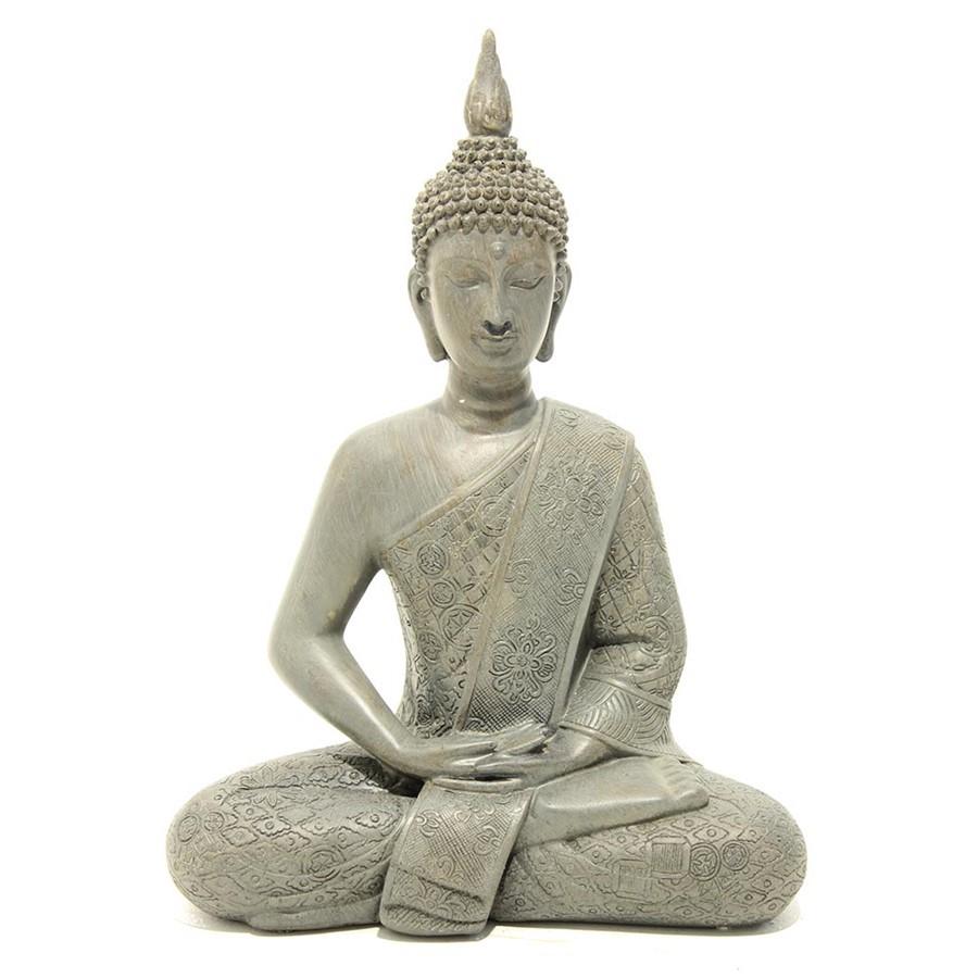 Escultura Budda Resina Branco 28x22cm