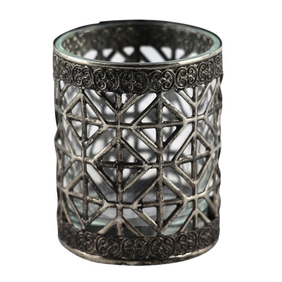 Castiçal de Vidro e Metal Prata 6cm
