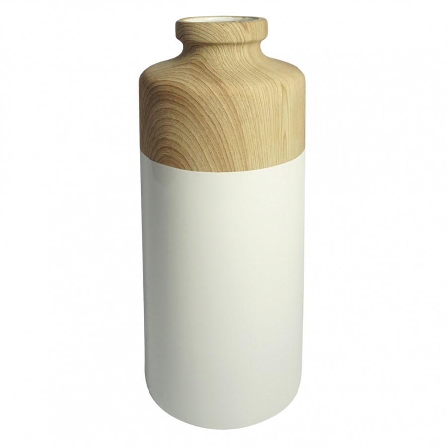Vaso de Resina Amadeirado 37 x 14cm