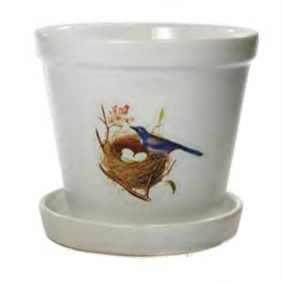 Vaso Branco com Pássaro