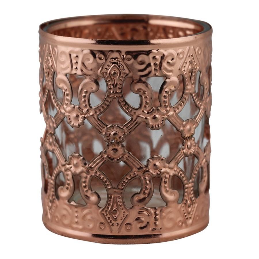 Castiçal de Metal e Vidro Bronze 6CMX7CM