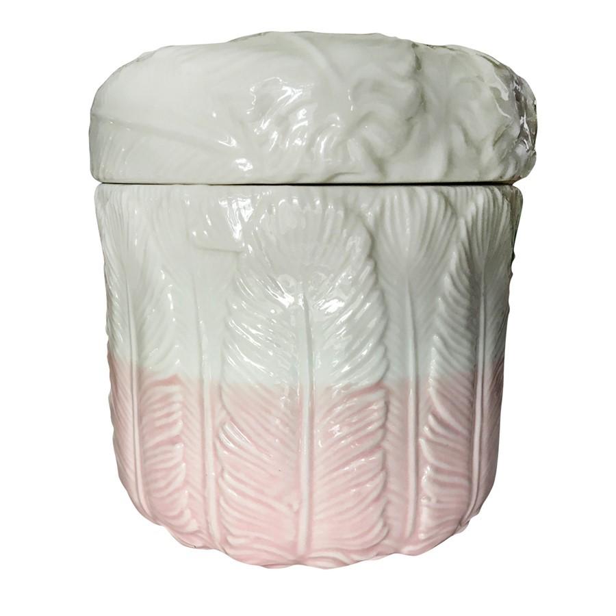 Potiche Cerâmica Feathers Branco/Rosa