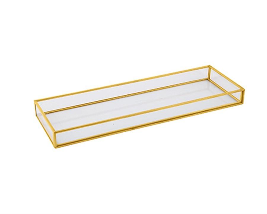 Bandeja de Vidro e Metal Dourada 30cmx10cm