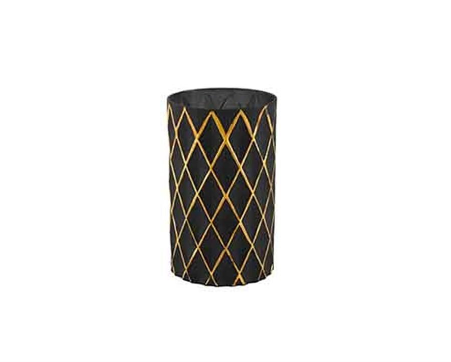 Vaso de Vidro Preto com Dourado