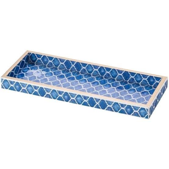 Bandeja de Madeira Blue 30 x 12cm