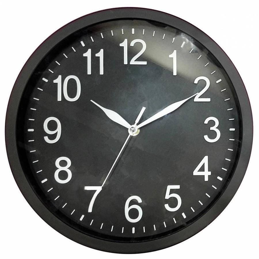 Relógio de Parede de Plástico Preto 35 cm