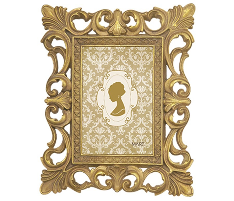 Porta Retrato Antique Dourado 10x15cm