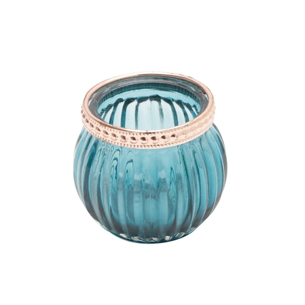 Castiçal Vidro Azul 6x5cm