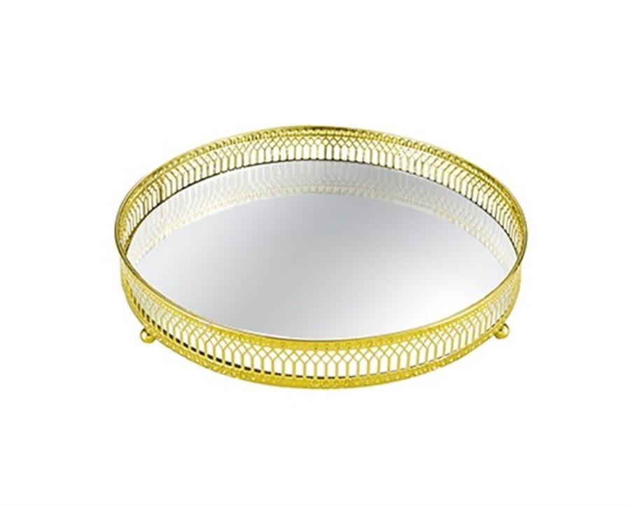 Bandeja Lisa Metal Dourada C/ Espelho 28 CM