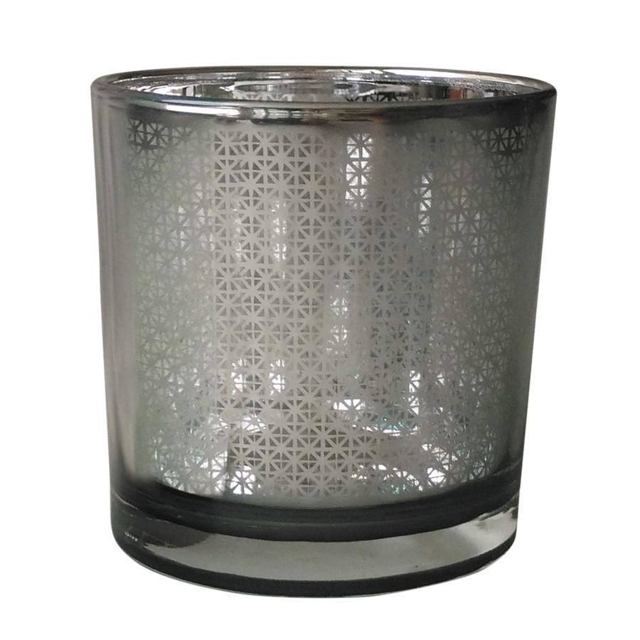 Castiçal vidro cinza 7,3cm x 8cm