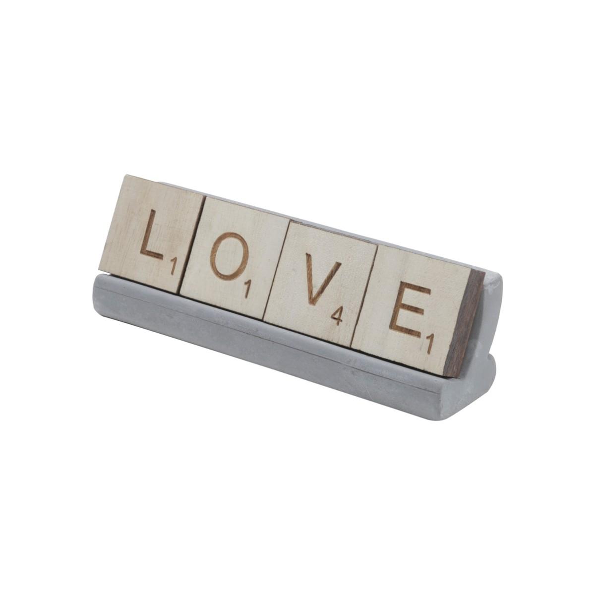 Letreiro C/Base Concreto - Love 16x5cm