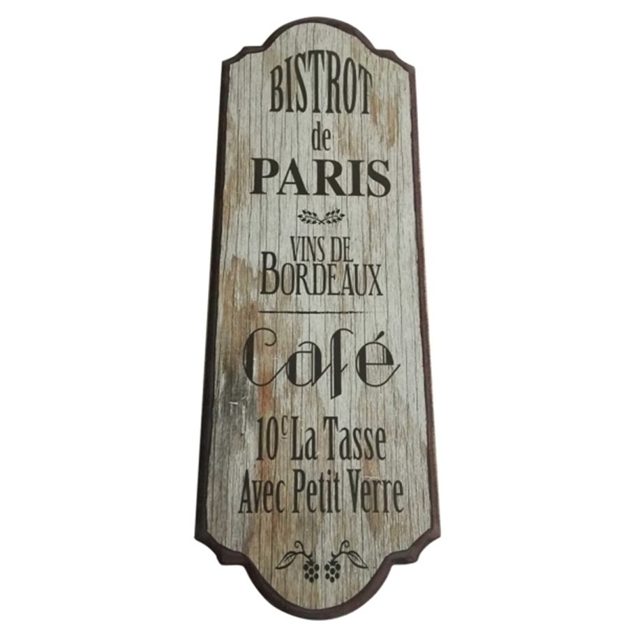 Placa Decorativa Bistrot Paris