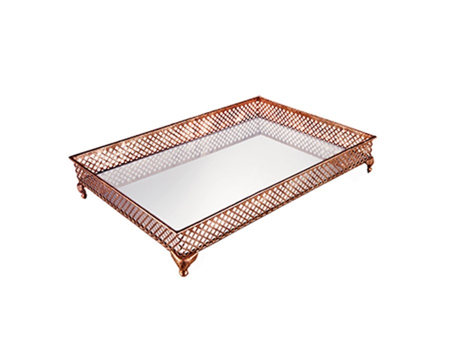 Bandeja de Metal Cobre c/ Espelho 45x33cm