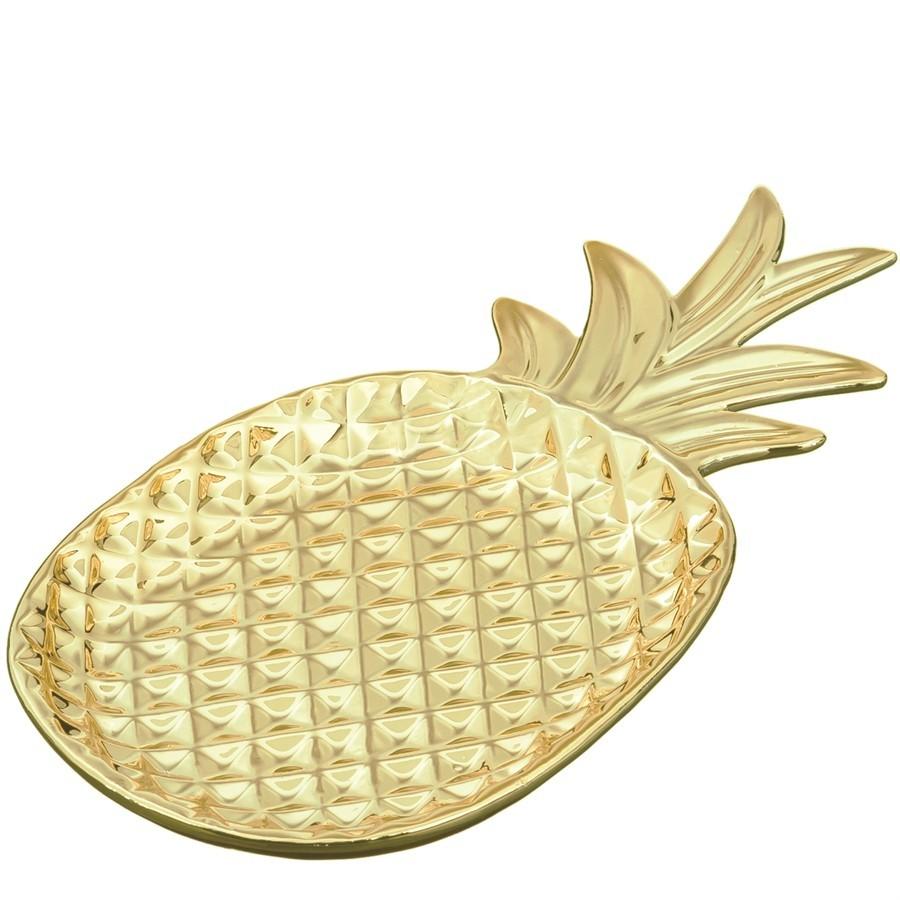 Prato Abacaxi  Gold Pequeno
