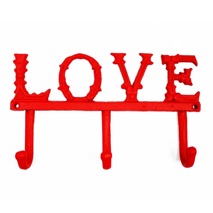 """Cabideiro de ferro vermelho""""Love"""""""