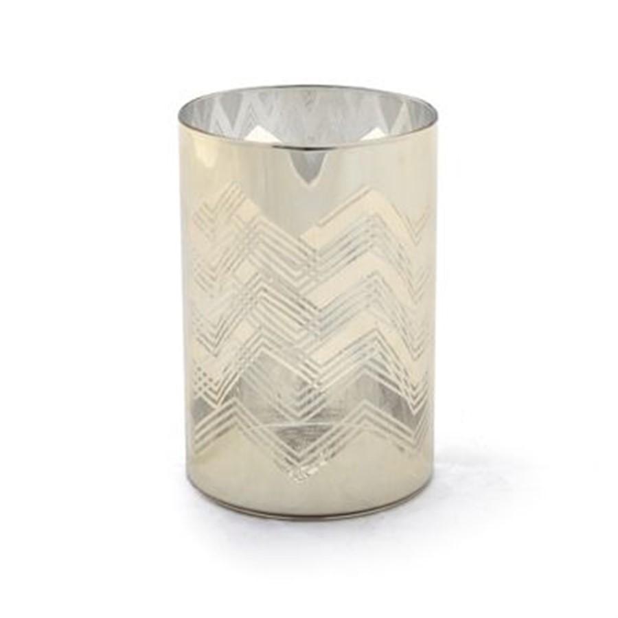 Porta vela dourado em vidro 13cm x 9cm