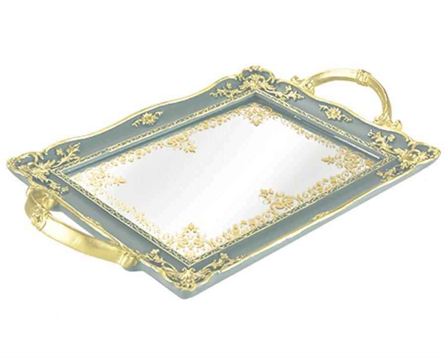 Bandeja Cinza em Poliresina com Espelho