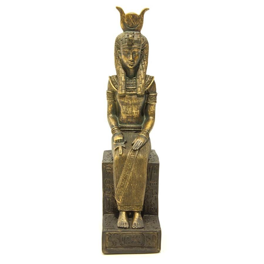 Escultura Resina Egipcia Dourada 29x10cm