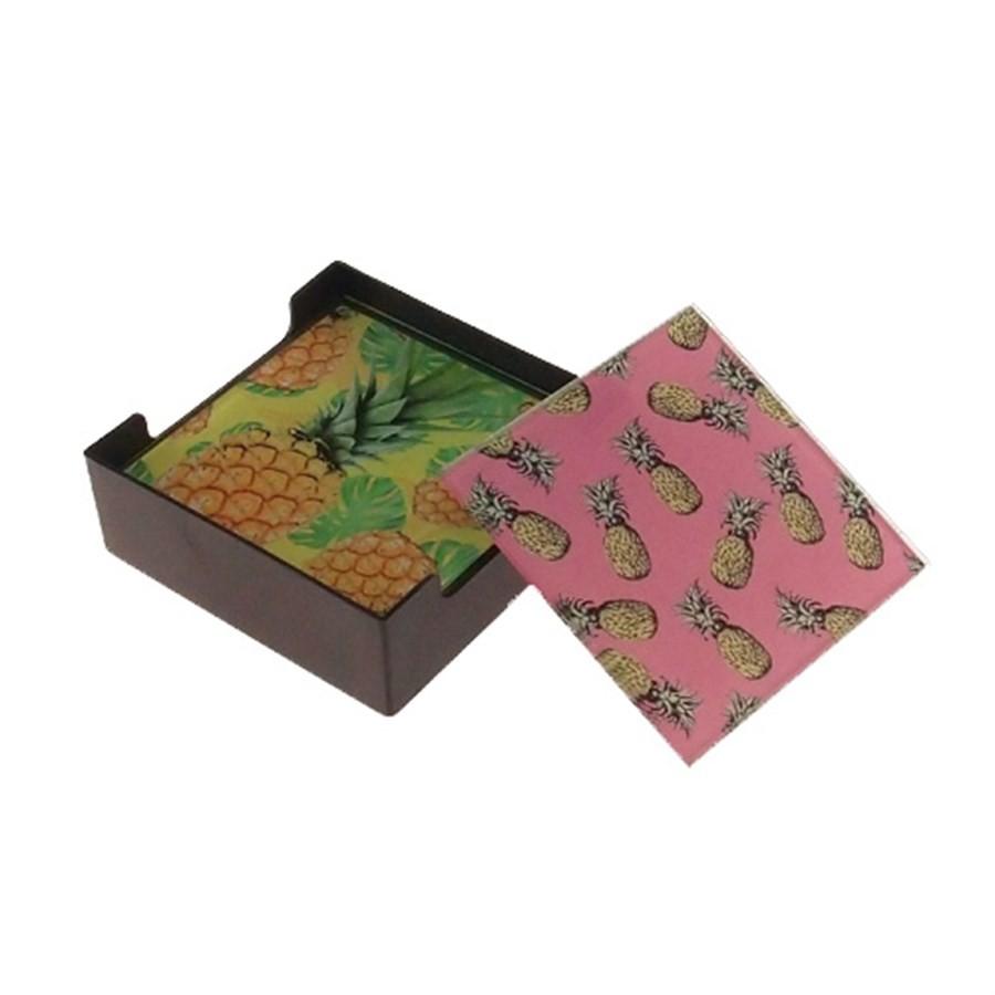 Porta Copos Vidro Quadrado Abacaxi Colorido