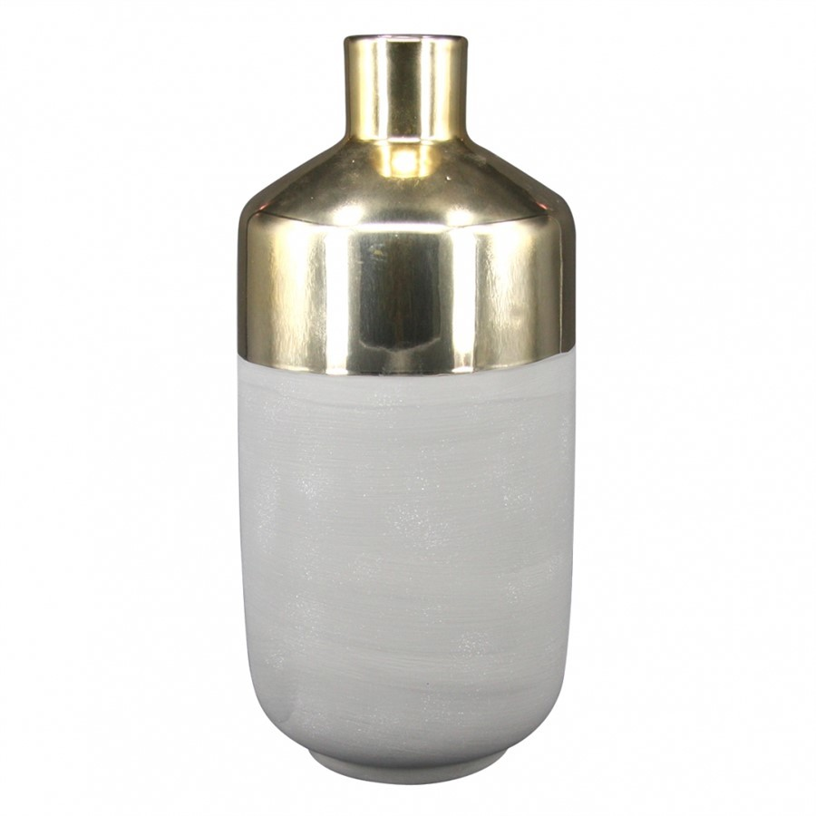 Vaso de Cerâmica Cinza e Dourado 12x25cm