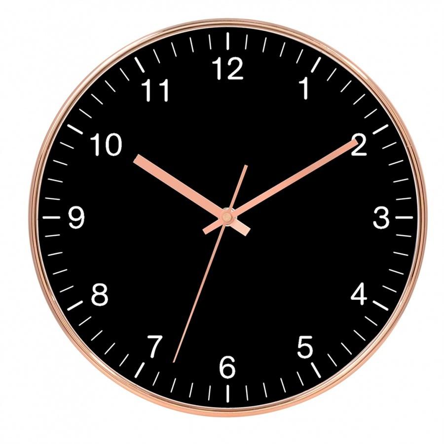 Relógio de Parede Plástico Cobre e Preto 30x4cm