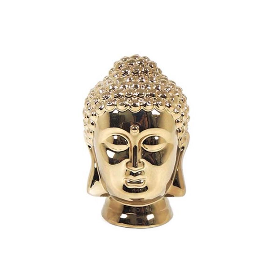 Escultura Cabeça Buddha Dourada 22CM