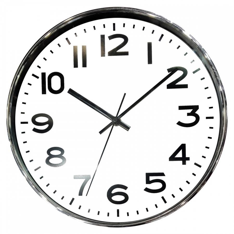 Relógio de Parede Cromado e Branco  25CMX4CM