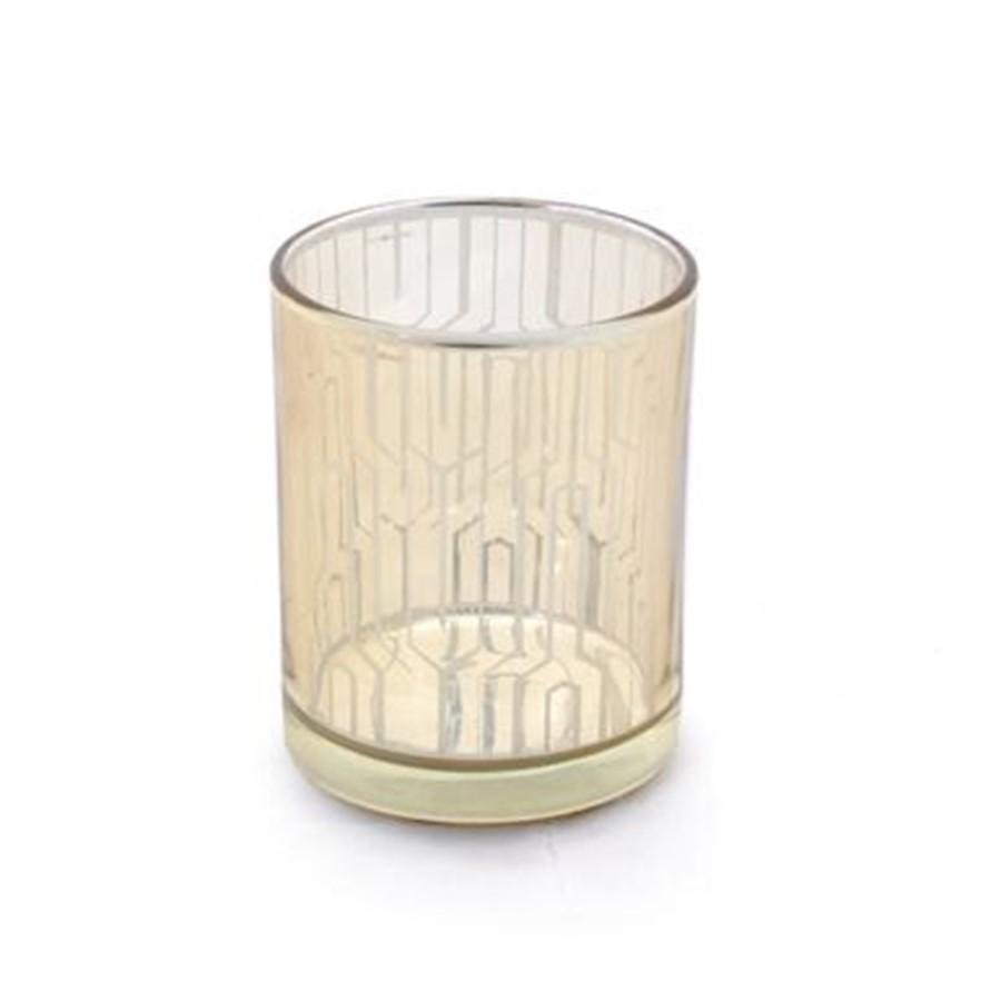 Porta vela dourado em vidro