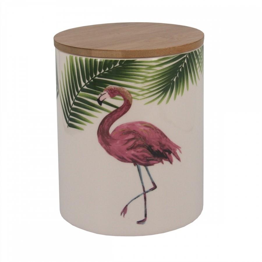 Pote Cerâmica Branco Flamingo 13x13cm
