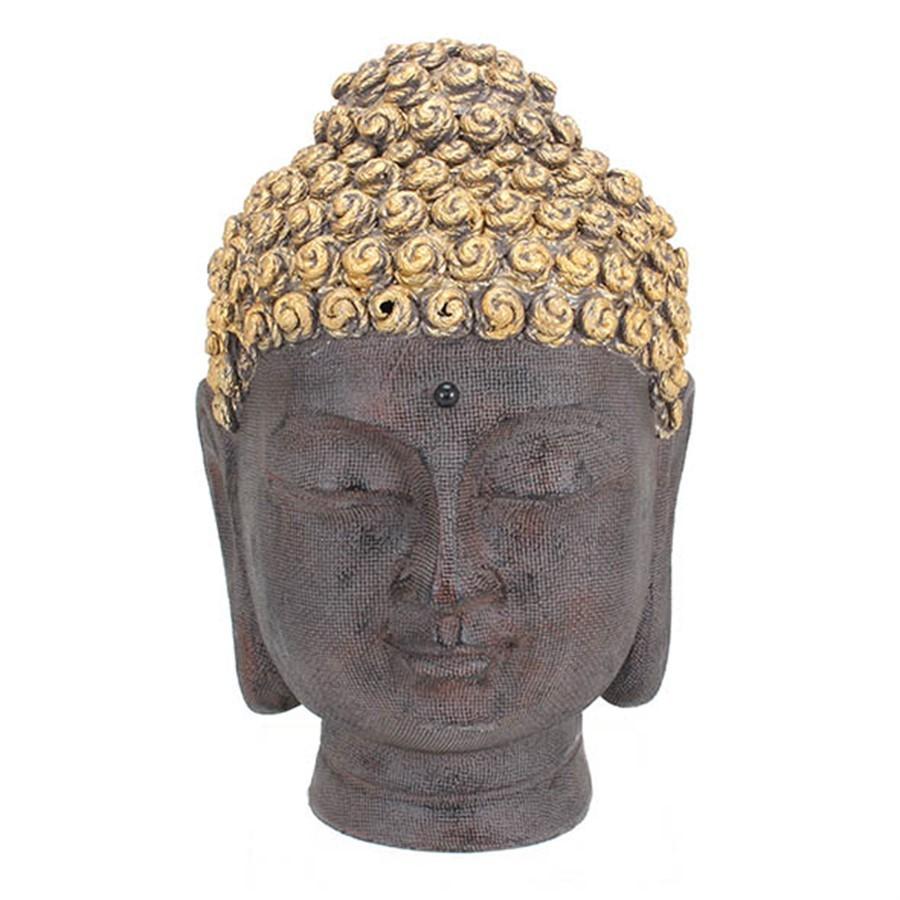 Escultura Cabeça Buddha Cinza 25cm