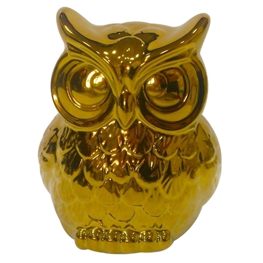 Coruja Cerâmica Dourado Grande