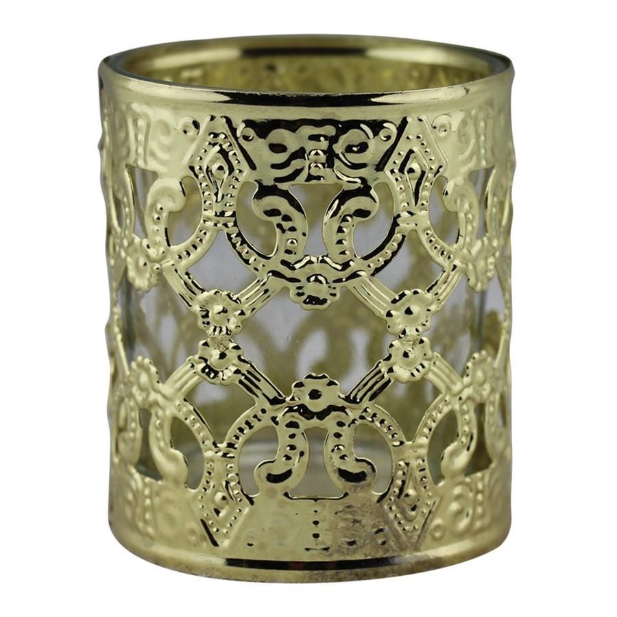 Castiçal de Metal e Vidro Dourado 6CMX7CM
