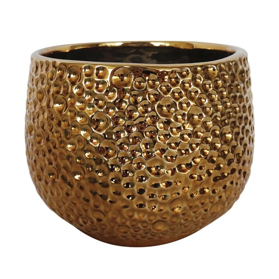 Vaso de Cerâmica Dourado 15x15cm