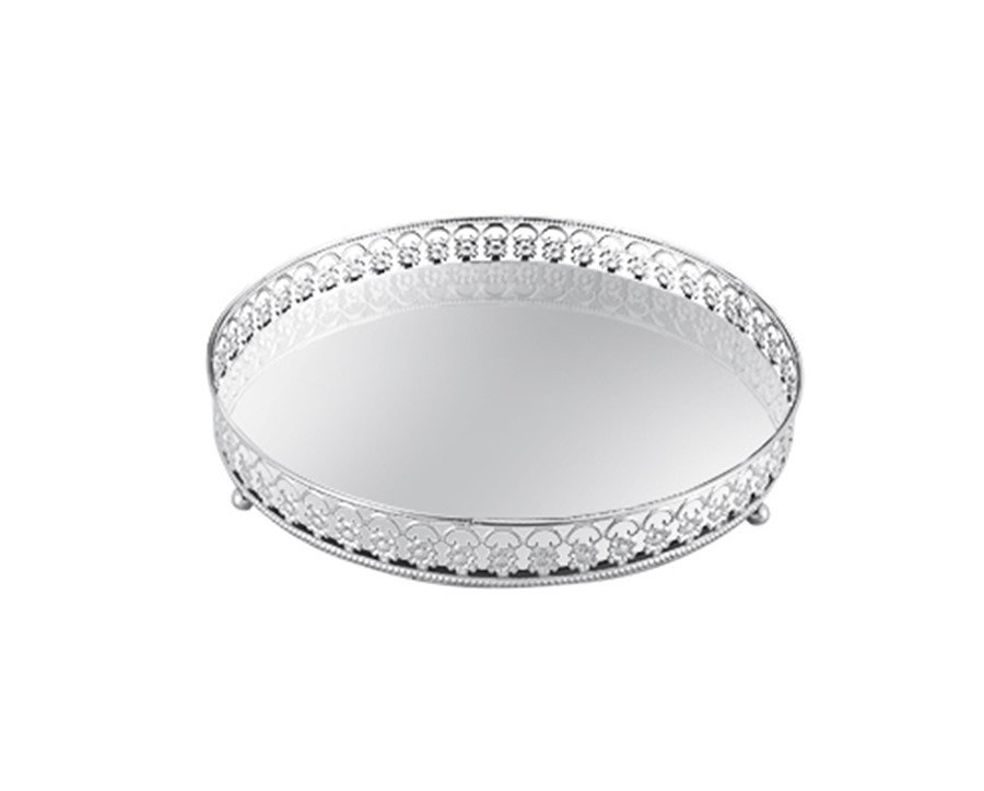 Bandeja grade prata redonda espelhada