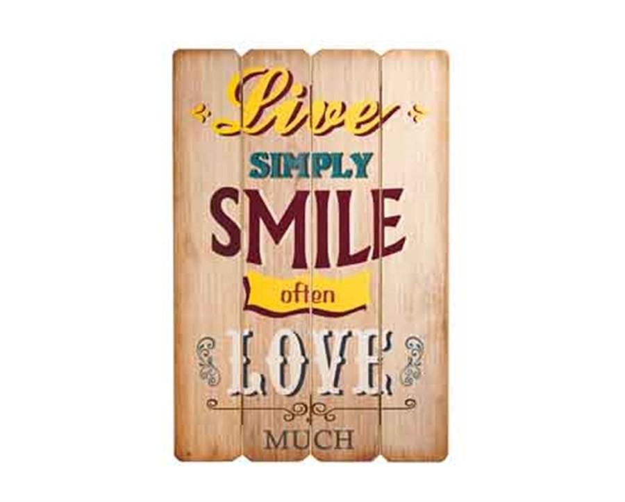 Placa Decorativa de Madeira Smile