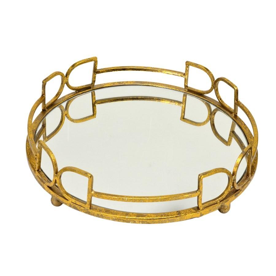 Bandeja Dourada Espelhada  35,5CM