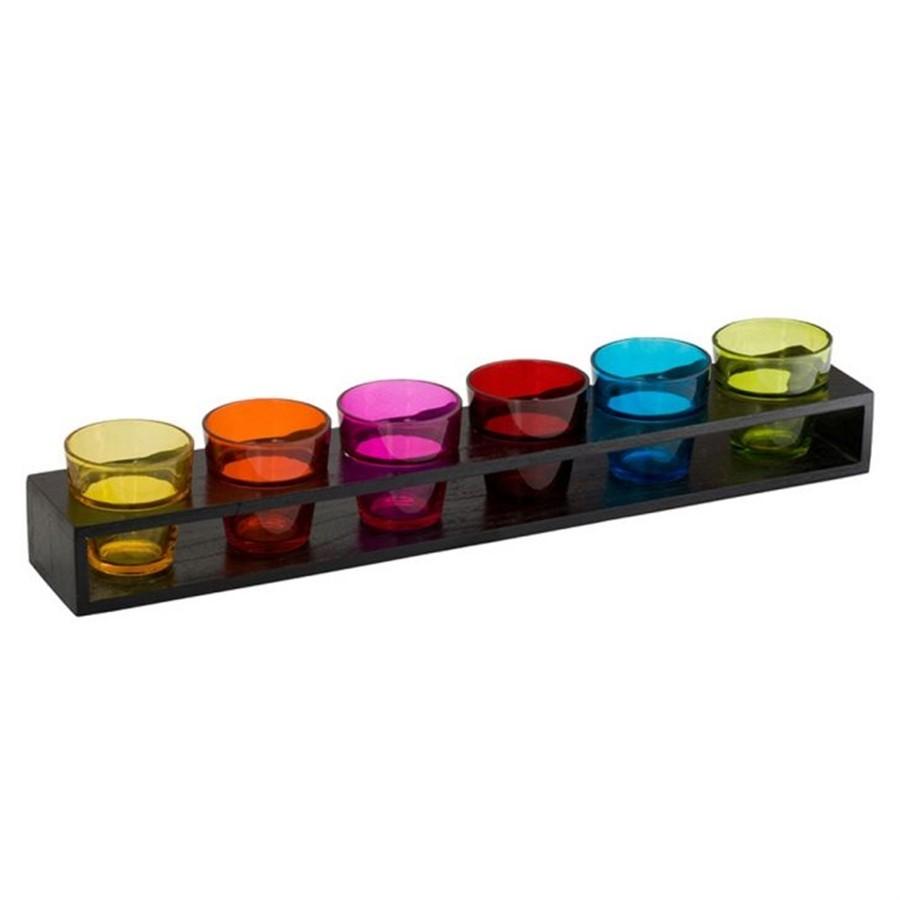 Porta Vela Castiçais Colors C/Suporte Madeira 6pçs