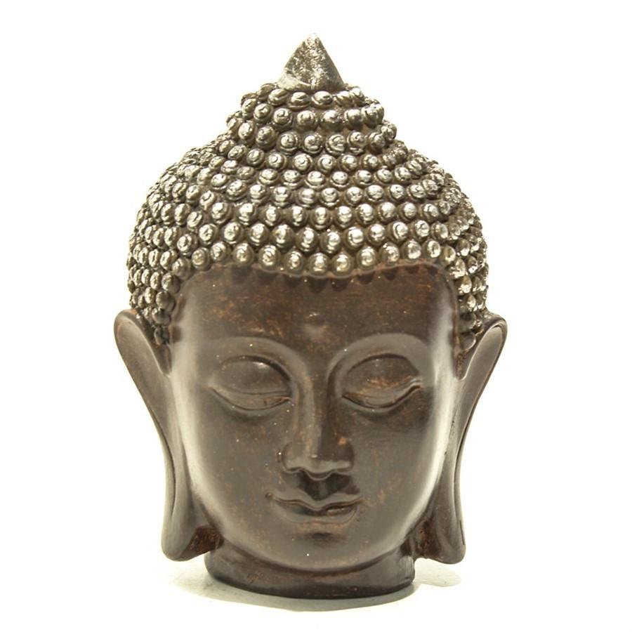 Escultura Resina Cabeça Buddha 11x18cm