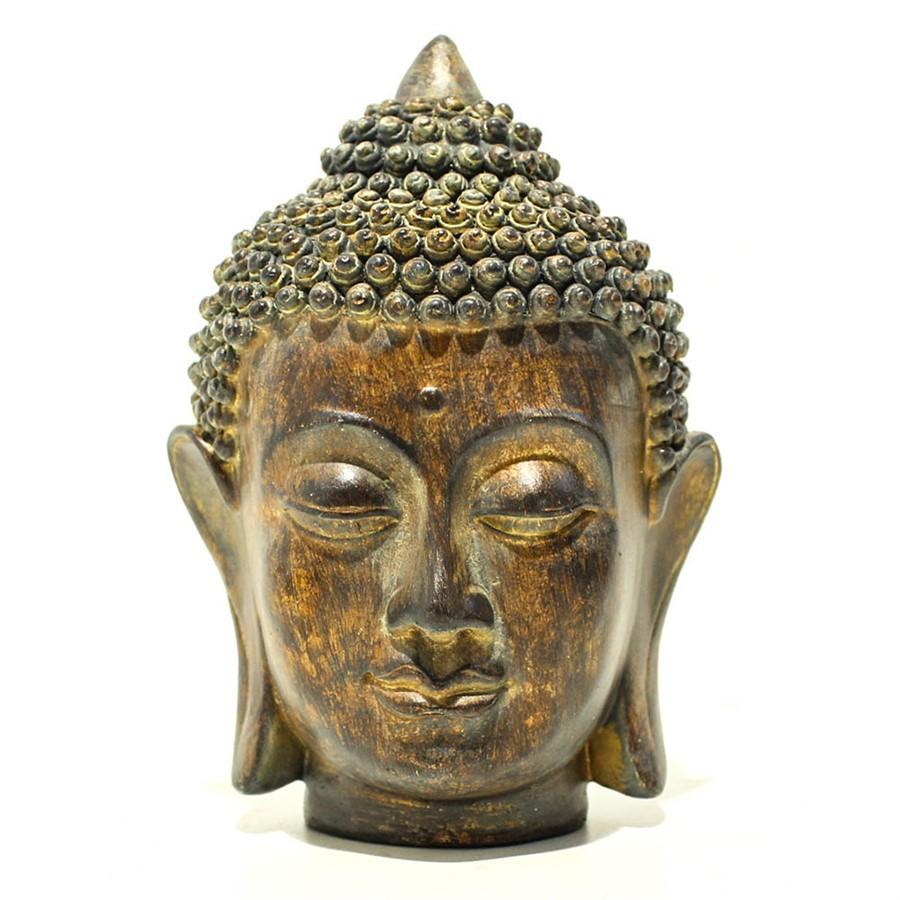 Escultura Cabeça Buddha Resina 10x17cm