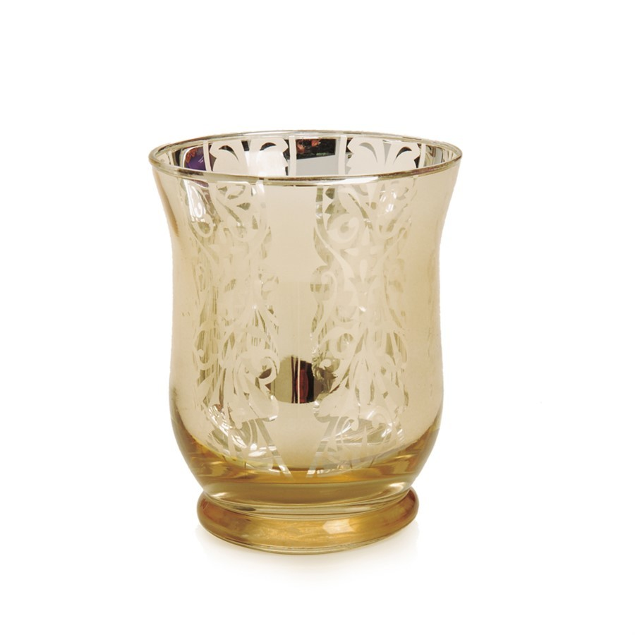 Porta vela em vidro dourado 10cm x 8cm