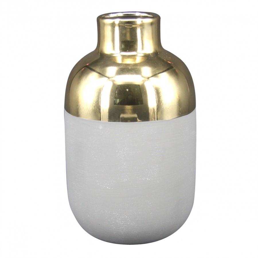 Vaso de Cerâmica Cinza e Dourado 9,5 x 16cm