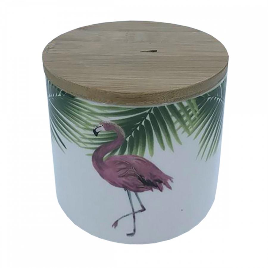 Pote Cerâmica Branco Flamingo 10x11cm
