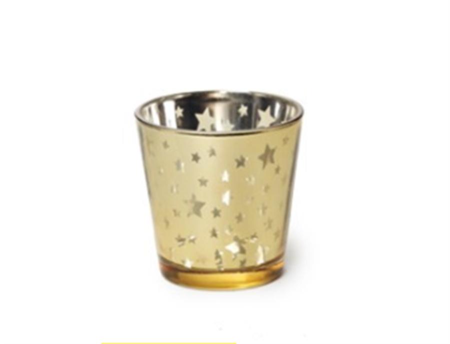 Castiçal Dourado com Estrela 8CM
