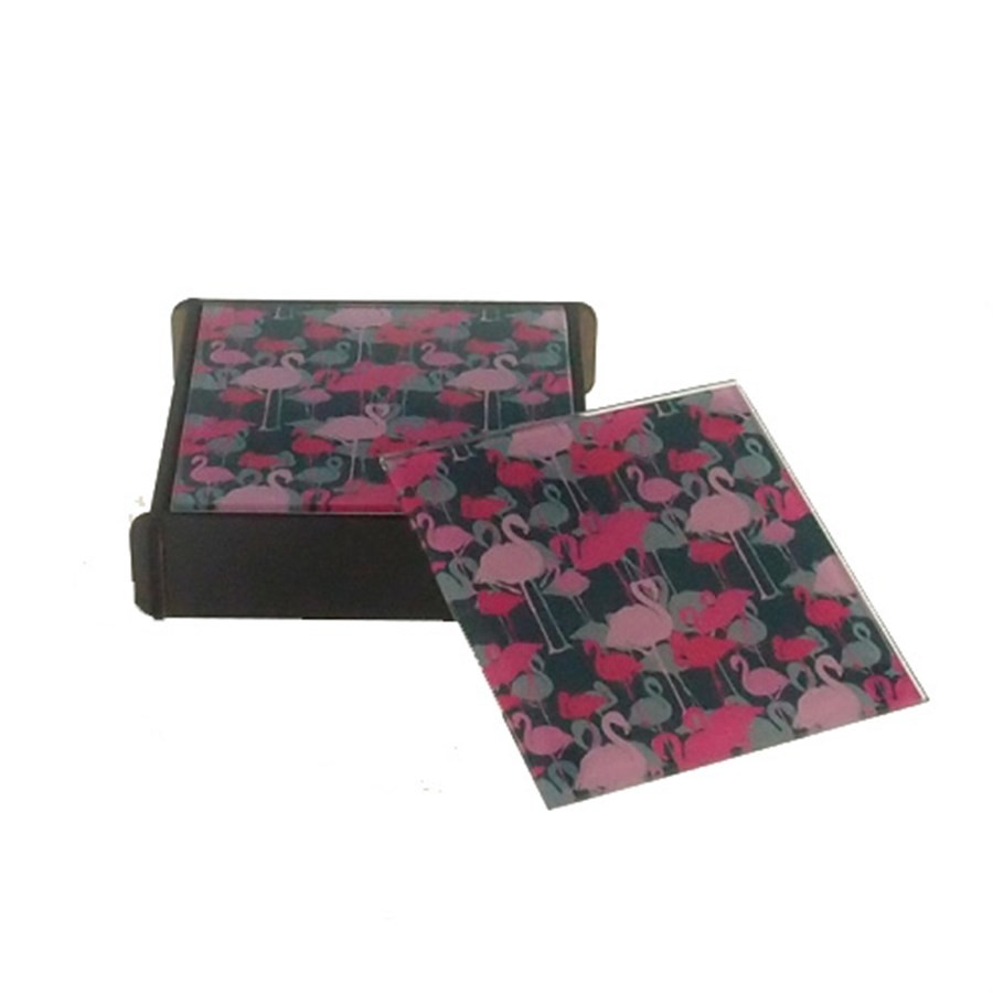 Porta Copos de Vidro Quadrado Flamingos