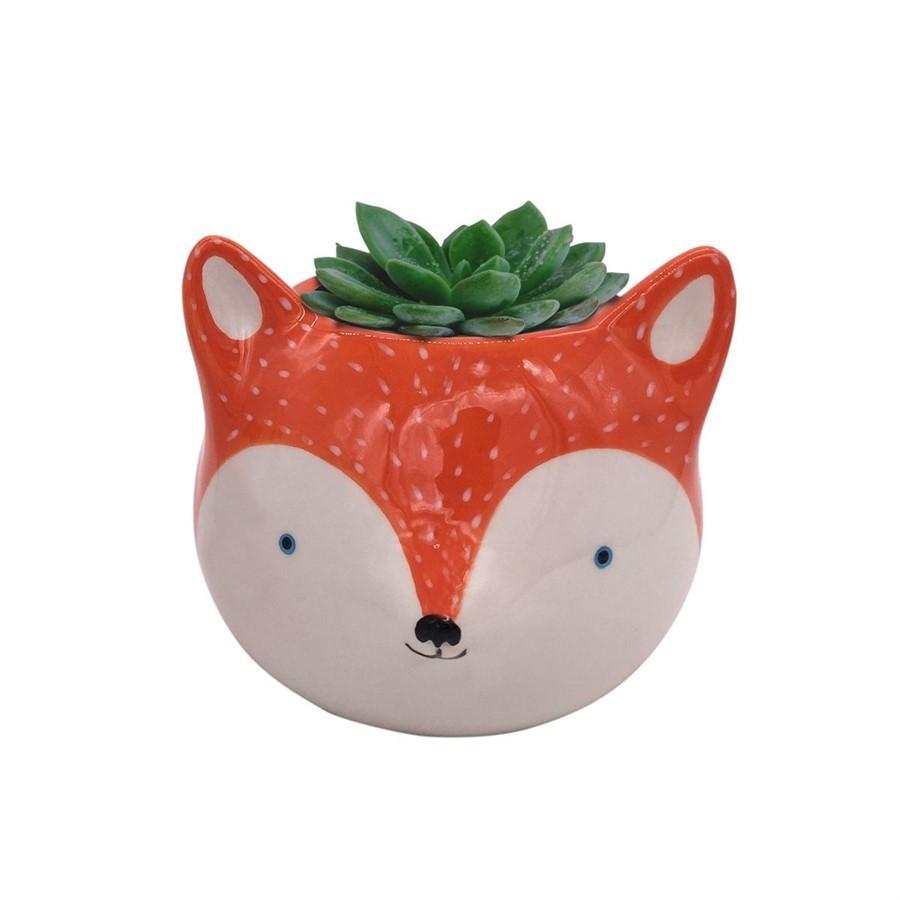 Cachepot Cerâmica Fox Laranja